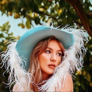 Baby Blue Cowgirl Brim Hat
